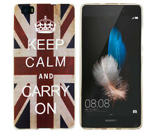 CASE per HUAWEI p8 Lite Custodia Protettiva Custodia Cover Astuccio KEEP CALM and CARRY ON UK