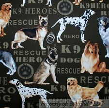 BonEful FABRIC FQ Cotton Quilt L Dog 911 Hero Rescue Police K9 Cop Military Work