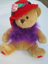 US BALLOON CO FANCY BEAR WITH PURPLE BOA PLUSH TOY
