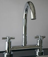 DUAL LEVER KITCHEN SINK DECK MIXER CHROME TAP 1/4 TURN 2 HOLE 180MM CENTRE
