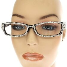 +3.00 READING GLASSES with Sparkling CLEAR Crystal Studded Bling BLACK Frame