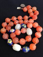 Antique Chinese carved carnelian, jade, cloisonne beads necklace 99 grams