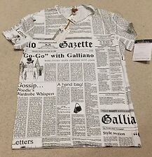 NWT Men's JOHN GALLIANO Newspaper Stretch Cotton T-shirt RARE