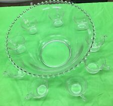 10 Pieces Imperial Glass CANDLEWICK Crystal Beaded Punch Bowl & 9 cups
