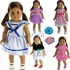Set Bundle =5 Dress Outfits +1 shoes + 1 Hairpin for 18 Inch American Girl Doll