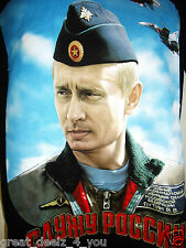 VLADIMIR - PUTIN - RUSSIA - AIR FORCE - LARGE - BLACK - MILITARY - T-SHIRT - NEW