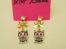 E547 Betsey Johnson King Night Guardian Gold Owl Owlet with Bow Earrings US