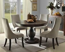ALSACE-5pcs Euro Transitional Brown Round Dining Room Table & Velvet Chairs Set