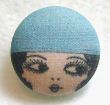 "1920s Flapper Girl  Button Hand Printed Fabric ""Luna"""