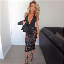 Black lace Midi couture sequin bodycon mesh halter dress 12 14 celeb cb