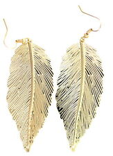 Large gold tone leaf dangle earrings
