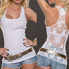 Sexy.Women Summer-Lace Vest Top Sleeveless Shirt Blouse Casual Tank Tops T-Shirt