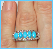 Sleeping Beauty Turquoise 5-stone Ring  Platinum over Sterling Silver 925 sz 6