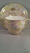 Hammersley English Bone China Chintz Teacup and Saucer Gold with flowers