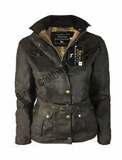 Womens Ladies Country Wear Belted Antique Wax 4 Pocket Waterproof Jacket Coat