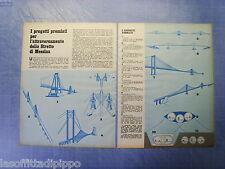 QUATTROR971-RITAGLIO/CLIPPING/NEWS-1971- STRETTO MESSINA-PROGETTI PONTE- 2 fogli