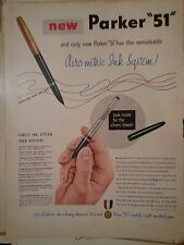 1950 Parker 51 Aero Metric Ink System Finest Ink Pen Fashion Award Ad