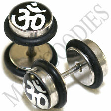 0147 Fake Cheater Faux Illusion Plugs 16G Look 0G 8mm Om Aum Sanskrit Symbol