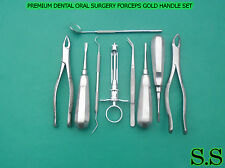 9 PCS PREMIUM DENTAL ORAL SURGERY KIT INSTRUMENTS EXTRACTING FORCEPS GOLD HANDLE