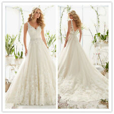 New White/Ivory lace Bridal Gown Wedding Dress Size 6 8 10 12 14 16 18+++