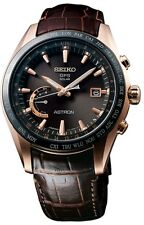 NEW  SEIKO ASTRON GPS SOLAR WORLD TIME SSE096 BROWN CROCODILE STRAP BROWN DIAL