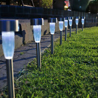 8Pcs Outdoor Stainless Steel Solar Light Color Changing LED Lawn Garden Pathway