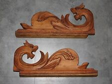2 FRONTONS/ORNEMENT EN BOIS SCULPTE DE 2 DRAGONS ANTIQUE WOOD SCULPT  F251