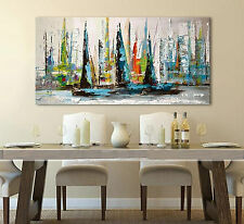 Hand-painted oil painting Modern Art On Canvas,Abstract sailboat (no framed)
