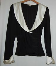 White House Black Market Womens Blouse Shirt Top Black White Satin XL Fitted