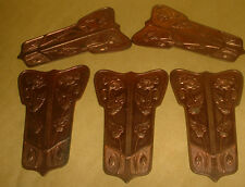 5X ART NOUVEAU COPPER HEAVILY DECORATED FLOWERS  FLAT FURNITURE DECORATION