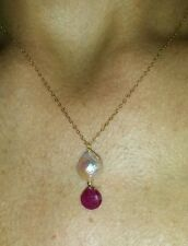1ct genuine Ruby pink freshwater pearl pendant necklace 14kt solid gold