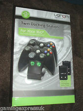 Twin Charging Cradle Dock Black + X2 Batteries XBOX 360 NEW SEALED Venom