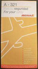 IBERIA spanish airways A 321 SAFETY CARD airline brochure leaflet ee e186