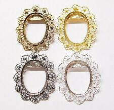 4 Colors of 40x30 mm Old Style Flower Wreath Design Brooch Pin Pendant Settings