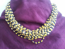 Vintage Collier Manouk Perles en verre 10 Rangs Necklace