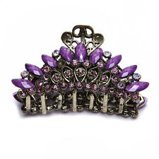 Lady Bronze Alloy Acrylic Rhinestone Leaf Hair Clip Claw