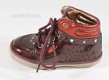 Noel Girls Mini Arga Burgundy Leather Lace Shoes UK 8 EU 26 US 8.5 RRP £49.00