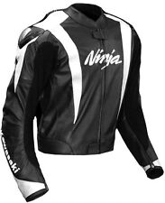 White Ninja Black Kawasaki Ninja Motorcycle Racing Biker Leather Jacket hump