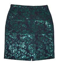 J. Crew Factory Pencil Skirt in Floral Brocade 6 Metallic Navy Green