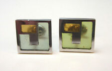 SILVER TONE COLORED GLASS STAINED GLASS LOOK CUFF LINKS *