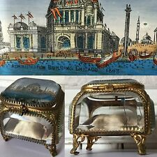 1893 Chicago World Fair Antique French Ormolu Bevelled Glass Jewelry Trinket Box