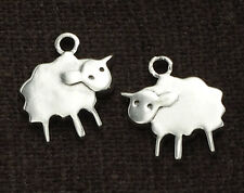 925 Sterling Silver 2 Sheep Charms 10x11mm.