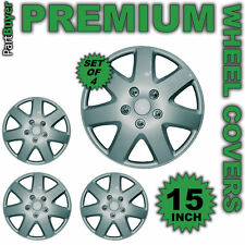 SET OF 4 X 13 INCH STEEL SILVER WHEEL COVER TRIM HUB CAP ALLOY LOOK 15""