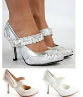 Ladies Party Wedding Bridal Pumps Low Mid Heels Prom Stiletto Court Shoes Size