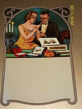 CIGAR BOX Die Cut CALENDAR ART 1920s NOS Cigarette Tobacco Pipe Man Girl Match