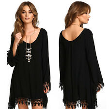 New Fashion Womens Casual Loose Long Sleeve Sexy Black Cocktail Party Mini Dress