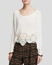 127672 New Free People Jersey That's Amore Tee Patchwork High Low Blouse Top S
