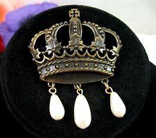 JJ ROYAL CROWN  Brooch Vintage Pin Dark Goldtone FAUX PEARL TEARDROP Dangle Bead