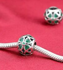 Perfect Gift Genuine Pandora S925 Green Lucky Clover Four Leaf Charm-791496CZN