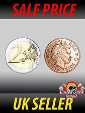 EU/UK COPPER SILVER COIN €2/2p  CLOSE UP COIN MAGIC TRICK - MADE WITH REAL COINS